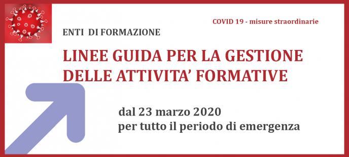 Linee guida per la gestione delle attività formative dal 23 marzo 2020