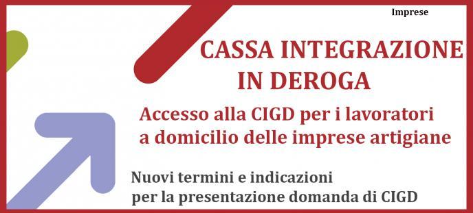 CIGD x lavoratori imprese artigiane e nuove indicazioni