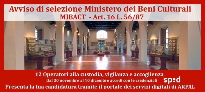 Avviso di selezione per MIBACT art. 16
