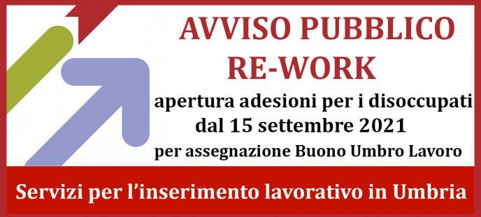 Avviso RE-WORK  apertura adesioni dal 15 settembre per i disoccupati